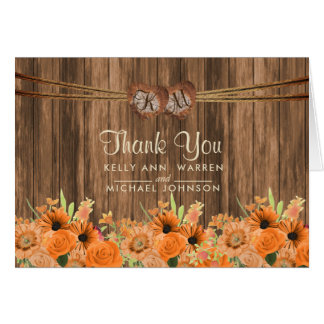 Monogram Wood Hearts with Orange Daisy and Roses Card