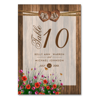 Monogram Wood Hearts with Wildflower - Table  Card