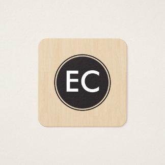 Monogram Wood Square Business Card