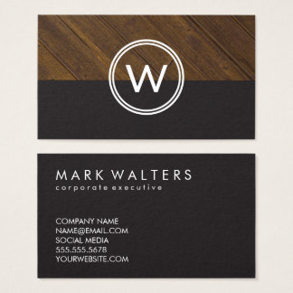 Monogram Wood Two Tone Business Card