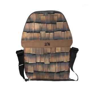 Monogram: Wooden Shingles Abstract Photography Messenger Bags