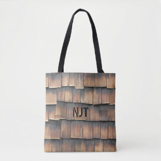 Monogram: Wooden Shingles Abstract Photography Tote Bag