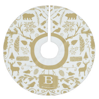 Monogram Woodland Holiday Tree Skirt / Gold