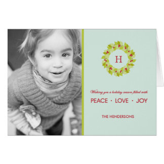 Monogram Wreath Christmas/ Holiday Photo Cards