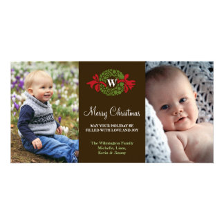 Monogram wreath red green merry Christmas greeting Picture Card