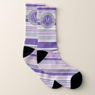 Monogram Wreath Trendy Stripes Purple Laurel Leaf 1