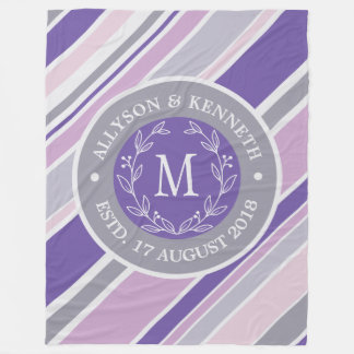Monogram Wreath Trendy Stripes Purple Laurel Leaf Fleece Blanket
