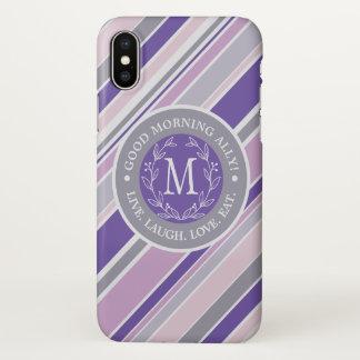 Monogram Wreath Trendy Stripes Purple Laurel Leaf iPhone X Case