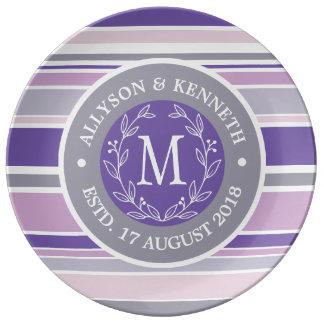 Monogram Wreath Trendy Stripes Purple Laurel Leaf Plate