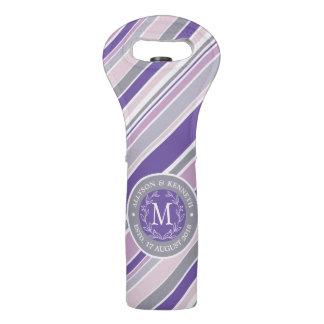 Monogram Wreath Trendy Stripes Purple Laurel Leaf Wine Bag