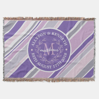 Monogram Wreath Trendy Stripes Purple Leaf Laurel