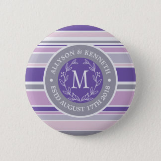 Monogram Wreath Trendy Stripes Purple Leaf Laurel 6 Cm Round Badge