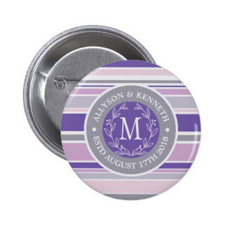 Monogram Wreath Trendy Stripes Purple Leaf Laurel 6 Cm Round Badge