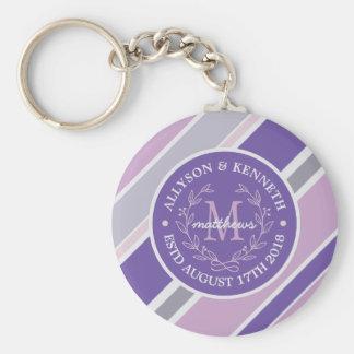 Monogram Wreath Trendy Stripes Purple Leaf Laurel Basic Round Button Key Ring