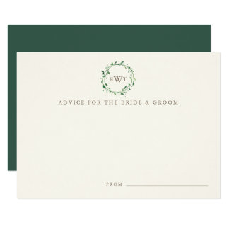 Monogram Wreath Wedding Advice Cards | Forest