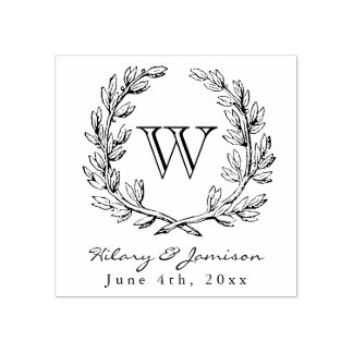 Monogram Wreath Wedding Stamp