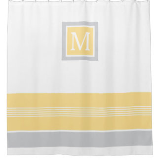 Monogram Yellow and Grey Striped Border Shower Curtain