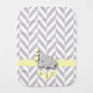 Monogram Yellow And White Chevron Baby Elephant Burp Cloth