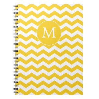 Monogram Yellow and White Chevron Notebook