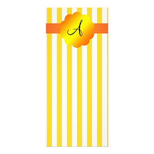 Monogram yellow and white stripes personalized rack card