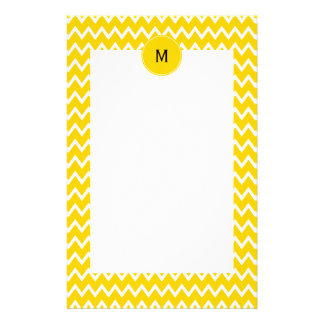 Monogram Yellow and White Zigzag Pattern Stationery