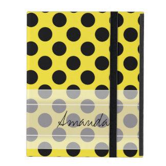 Monogram Yellow Black Cute Chic Polka Dot Pattern Cases For iPad