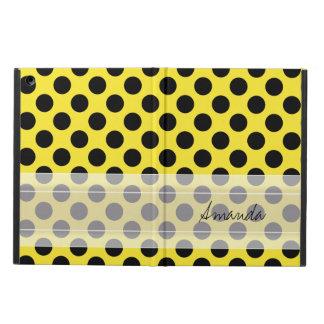 Monogram Yellow Black Cute Chic Polka Dot Pattern iPad Air Cases