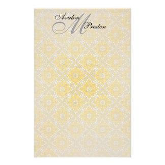 Monogram Yellow Black Lace Wedding Stationery