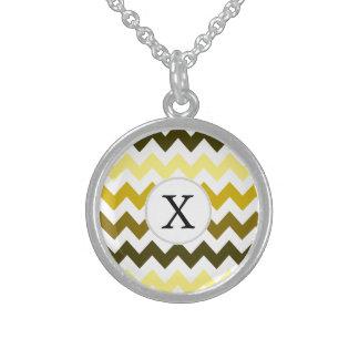 Monogram Yellow Chevron ZigZag Pattern Round Pendant Necklace
