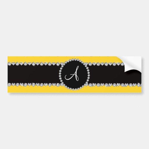 Monogram yellow diamond hearts stripes bumper sticker