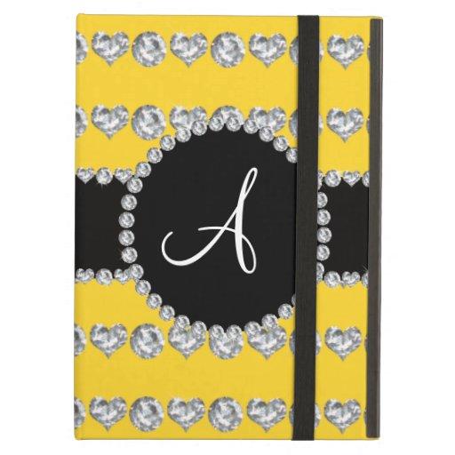 Monogram yellow diamond hearts stripes iPad air case