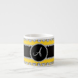Monogram yellow diamond hearts stripes 6 oz ceramic espresso cup