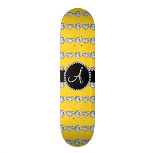 Monogram yellow diamond hearts stripes skateboard