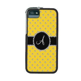 Monogram yellow diamonds polka dots case for iPhone 5