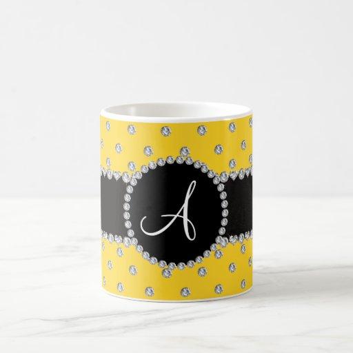 Monogram yellow diamonds polka dots mug