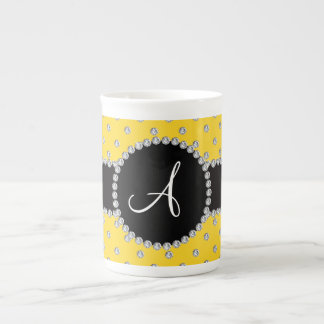 Monogram yellow diamonds polka dots porcelain mug