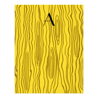 Monogram yellow faux bois 21.5 cm x 28 cm flyer