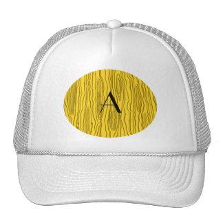 Monogram yellow faux bois trucker hat