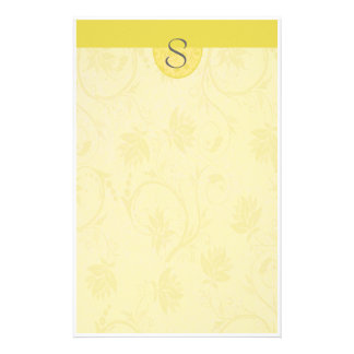 Monogram Yellow Floral Personalized Stationery