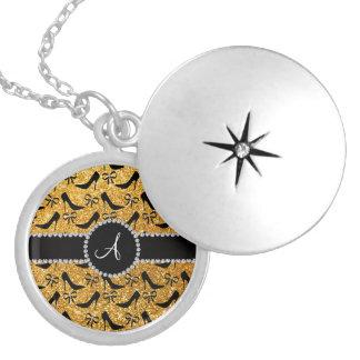 Monogram yellow glitter black high heels bow round locket necklace