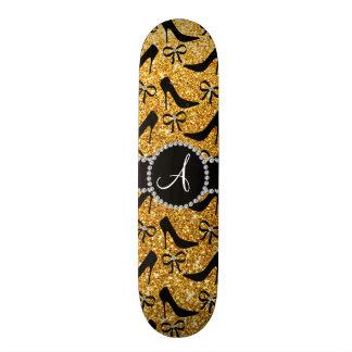 Monogram yellow glitter black high heels bow custom skate board