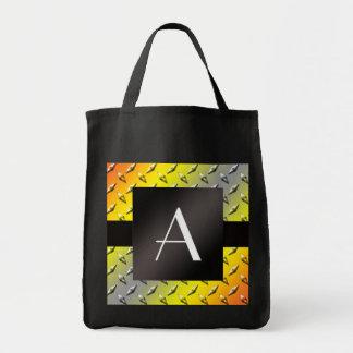 Monogram Yellow, grey and orange diamond steel
