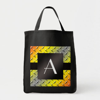Monogram Yellow, grey and orange diamond steel Grocery Tote Bag