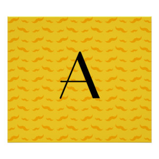 Monogram yellow mustache pattern poster