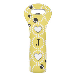 Monogram Yellow Polka Dots and Hearts Wine Bag