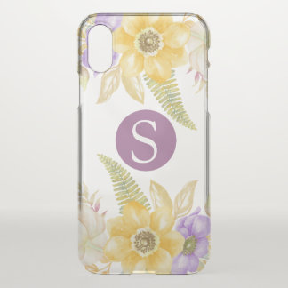Monogram Yellow Purple Floral Personalised iPhone X Case