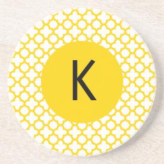 Monogram Yellow Quatrefoil Pattern Coaster