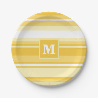 Monogram yellow stripes 7 inch paper plate