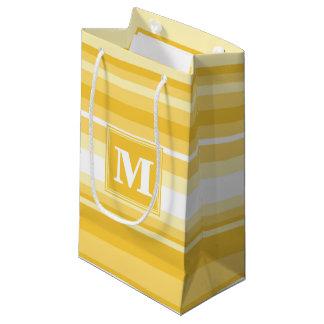 Monogram yellow stripes small gift bag