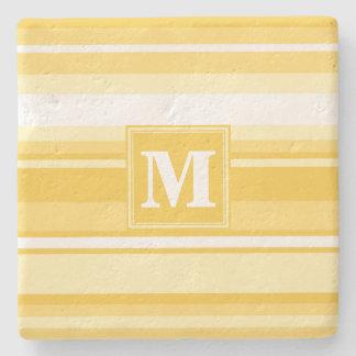 Monogram yellow stripes stone coaster